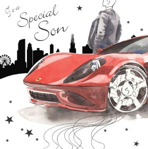 NES75  Special Son Birthday Card Sports Car